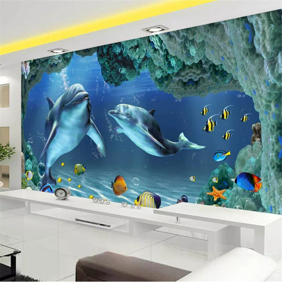 US $8 85 OFF Wellyu Foto Kustom Wallpaper 3D Stereo Mural Dunia Bawah Laut Dolphin Ibu Dan Anak Cinta Dalam Dinding Latar Belakang TV Kertas