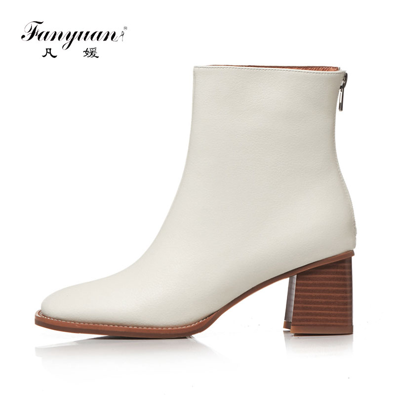 Fanyuan Fashion Autumn Square Toe Work boots Solid Square High heel Women shoes Genuine Leather Zipper Ankle Boots Bottes femmes