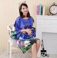 Nueva Llegada de Las Mujeres Chinas de Imitación de Seda Albornoz Bata Yukata Camisón Un Tamaño Flor Nuisette Pijama Mujer Un Tamaño Zh889K