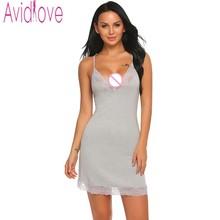 Avidlove хлопковая ночнушка Для женщин ночное ночь платье без рукавов Кружево спокойной сексуальная пижамы сна ночную рубашку домашняя одежда