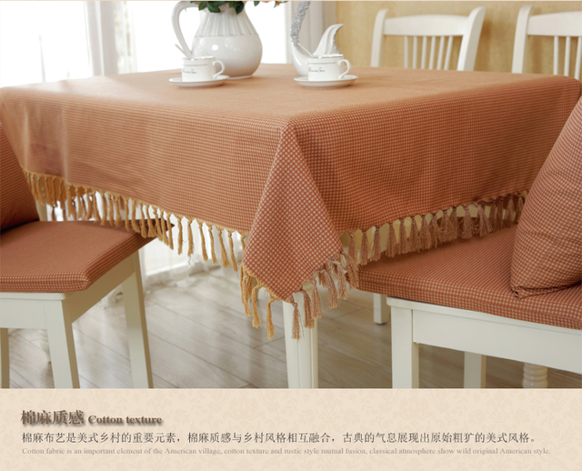 American Country Fabric Plaid Tablecloths Table Linen Round Tablecloths  Cushion Suit Retro Minimalist Coffee Table Cloth
