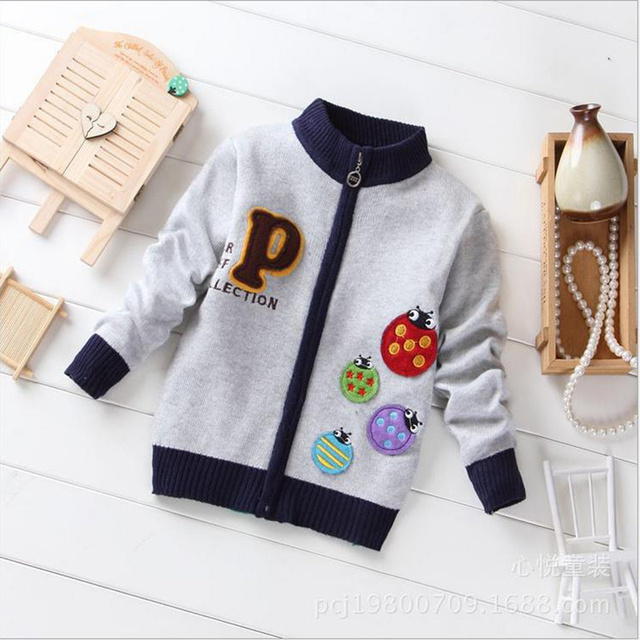 2016 Hot Brand Children Clothing Kids Boys Preppy Style Cardigan Open Collar Long Sleeve Sweater Toddler Boys Sweater
