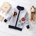 2016 Reloj Caliente de Los Niños Ropa Infantil Chicos Cardigan Estilo Preppy Suéter Niño Niños Suéter de Manga Larga de Cuello Abierto
