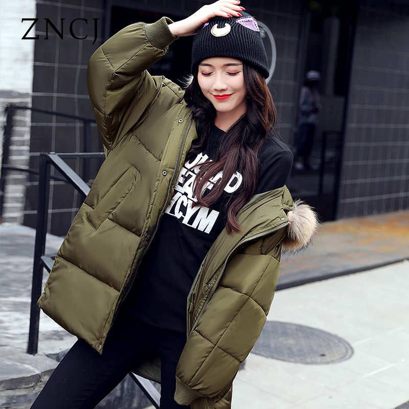 ZNCJ Winter Jacket Women Real Large Raccoon Fur Collar Thick Loose size Coat outwear Parkas Army Green chesmono new 2017 winter jacket women loose hooded fur collar thick loose size coat outwear warm thick parkas army green black