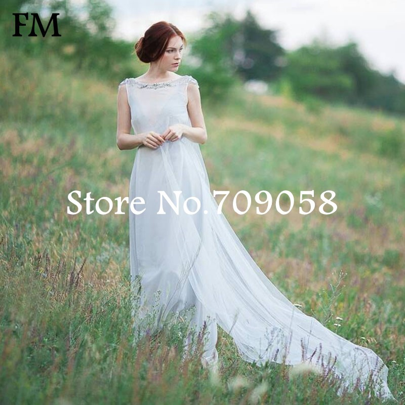Vintage bohemian wedding dress backless beach wedding for Backless boho wedding dress