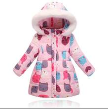 New Arrival Girls Winter Down Jacket Children Cartoon Animal Print Coat Baby Girls Hooded Outerwear Winter Jacket For Girls(China)