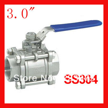 New arrival DN80 3.0 CF8 SS304 stainless steel 1000WOG ball valve  3pc Body Full Port for water,oil and gas 1 1 4 dn32 female stainless steel ball valve 3 way 316 screwed thread manual ball valve handle t port gas oil liquid valve