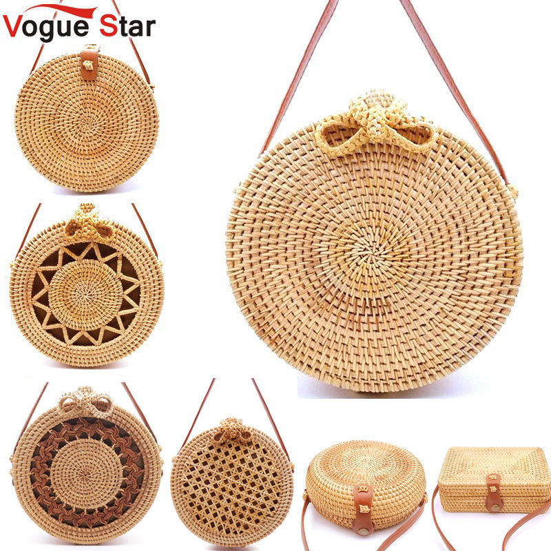 2020 Round Straw Bags Women Summer Rattan Bag Handmade Woven Beach Cross Body Bag Circle Bohemia Handbag Bali Lowest Price L31