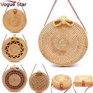 Image 1 - 2020 Round Straw Bags Women Summer Rattan Bag Handmade Woven Beach Cross Body Bag Circle Bohemia Handbag Bali Lowest price L31