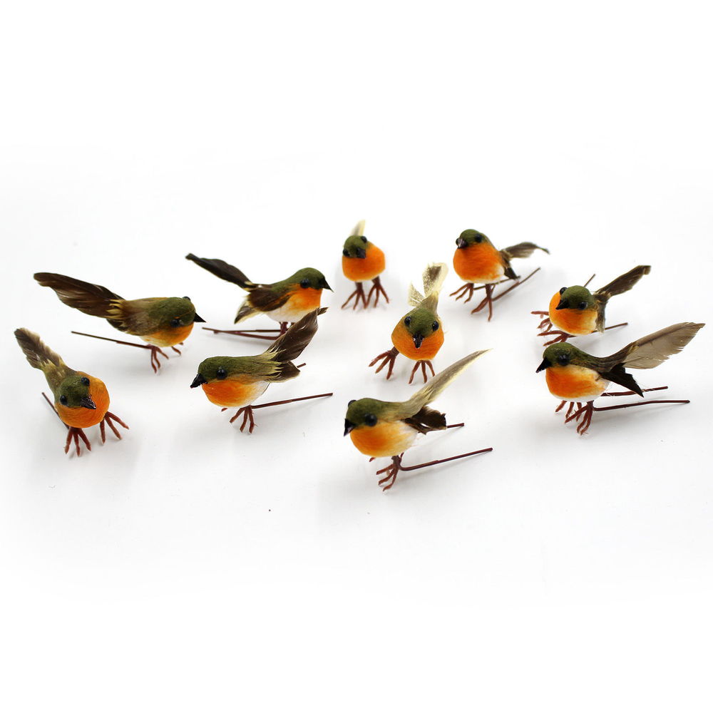 10PCS Robin Bird Christmas Tree Decoration Craft Very Cute Artificial Feather Bird Xmas Tree Decor Craft Wedding Doves Ornament