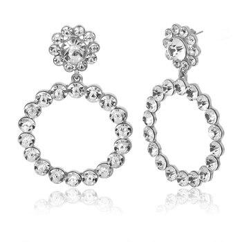 Trendy Crystal Round Pendant Pearl Drop Earrings For Women 3