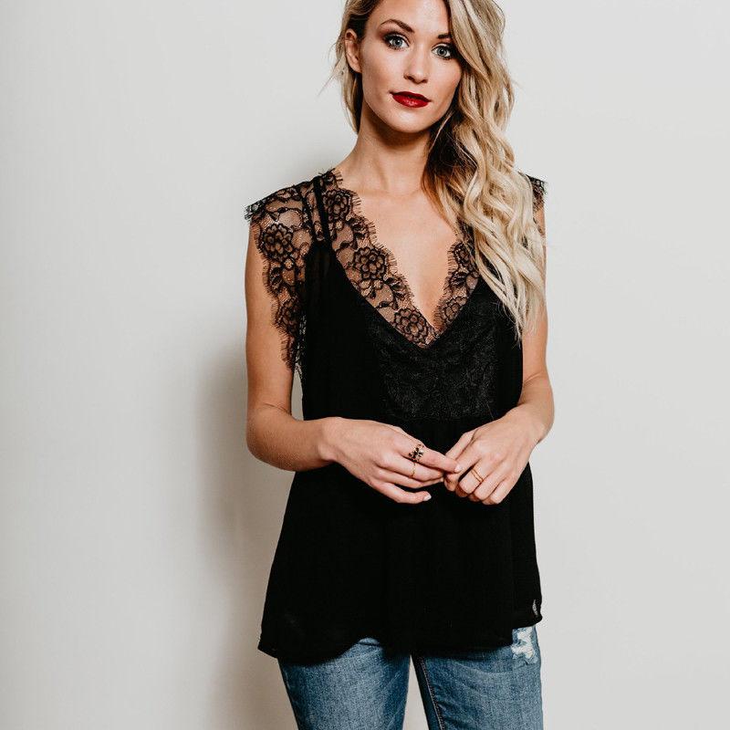 New Women Summer Lace Patchwork Vest Top Sleeveless V-neck Shirt Casual Loose Tank Tops T-Shirt Hot