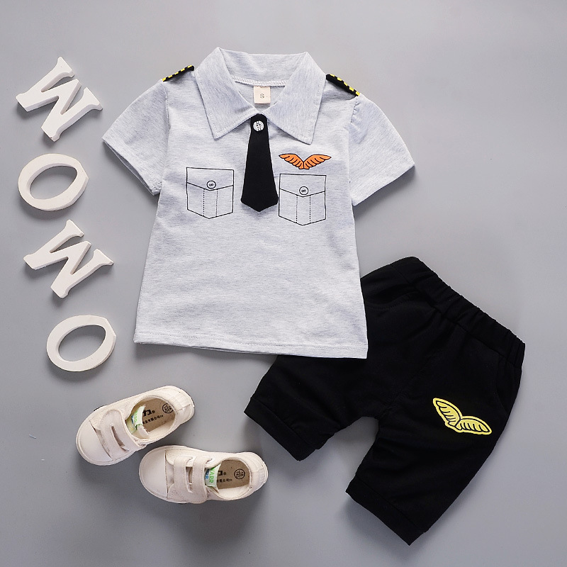 2019 new summer baby boy clothes set children aircraft captain uniform body suit kids clothing sets costume for boys in Clothing Sets from Mother Kids