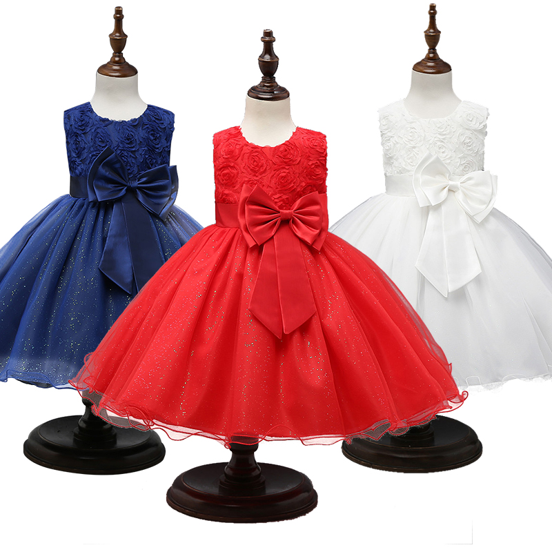 Princess Dress Girls Flower Ball Gown Wedding Party Baby Girl Clothes Kids New Year Dresses