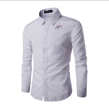 2017 spring men's casual long-sleeved shirt, Slim solid color business shirt white ,Good quality mens printed stripes shirt