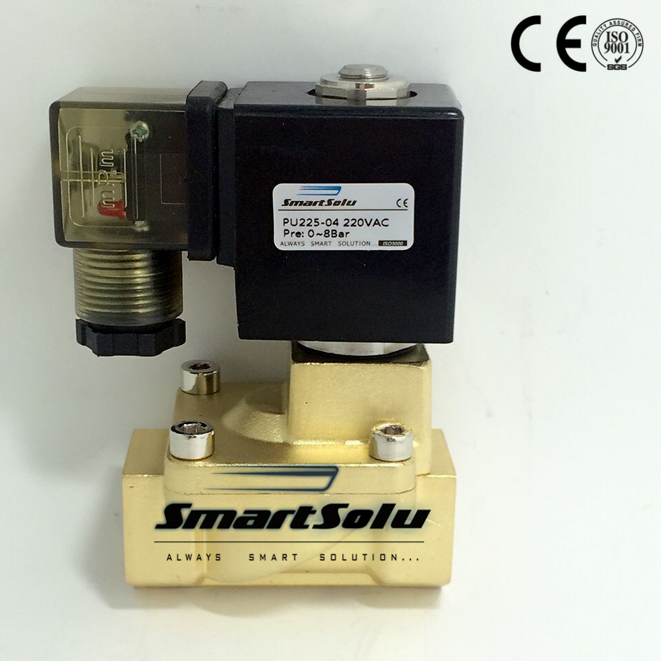 Free Shipping 1/2'' Normally Closed 2 way Pilot Diaphragm Brass Electric Water Solenoid Valve Air 1/2 BSP 13mm PU225 04 AC220V