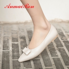 AnmaiRon 2019 New Arrival Women  Genuine Leather Basic Casual Solid Shoes Woman Spring/Autumn Slip-On Size 34-43 LY2224
