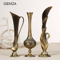 GIEMZA Métal Vase Bouteille de Ameublement Alliage Paon Vase Européenne Moderne Décor Décoration Arabe Vase Arc cravate