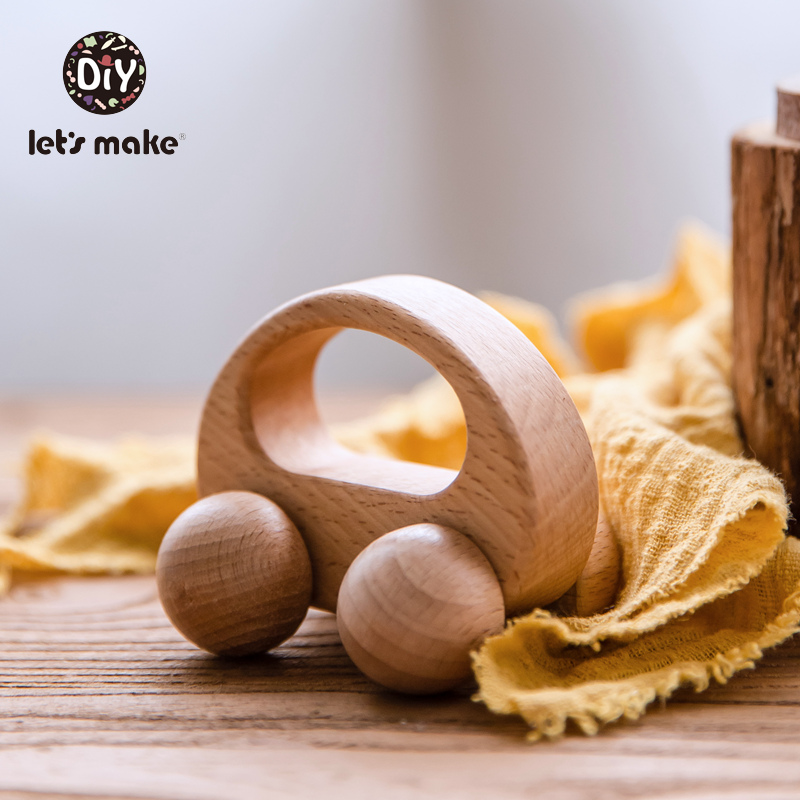 Let's Make Baby Toys Beech Wooden Blocks 1pc Wooden Car Cartoon Educational  Montessori Toys For Children Teething Baby Teethers