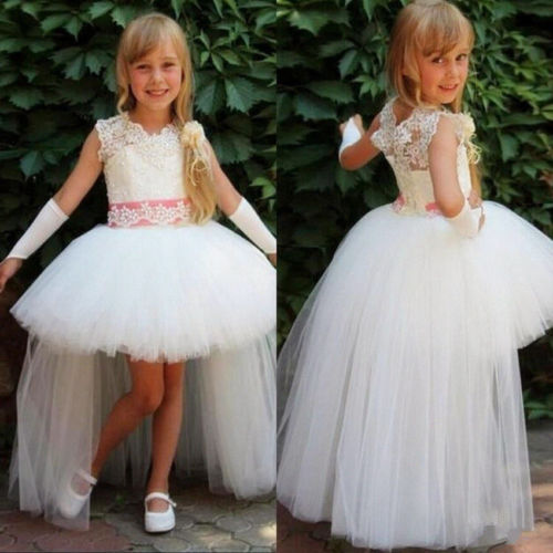 lace tutu dress White Ivory Tulle High Low Tutu Brithday Communion Pageant Flower Girl Dresses