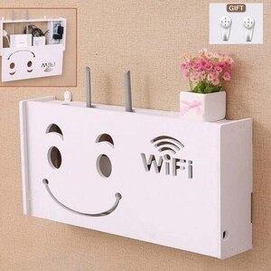 Wireless Wifi Router Storage Box PVC panel Shelf Wall Hanging Plug Board Bracket Cable Storage Organizer Home Rangement 3 Sizes(China)