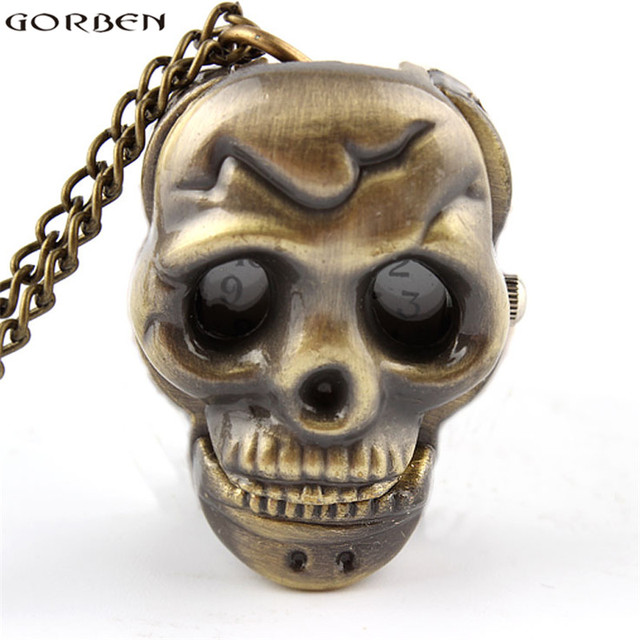 Top Gorben montre bronze antique crâne tête petite montre de poche  FE79