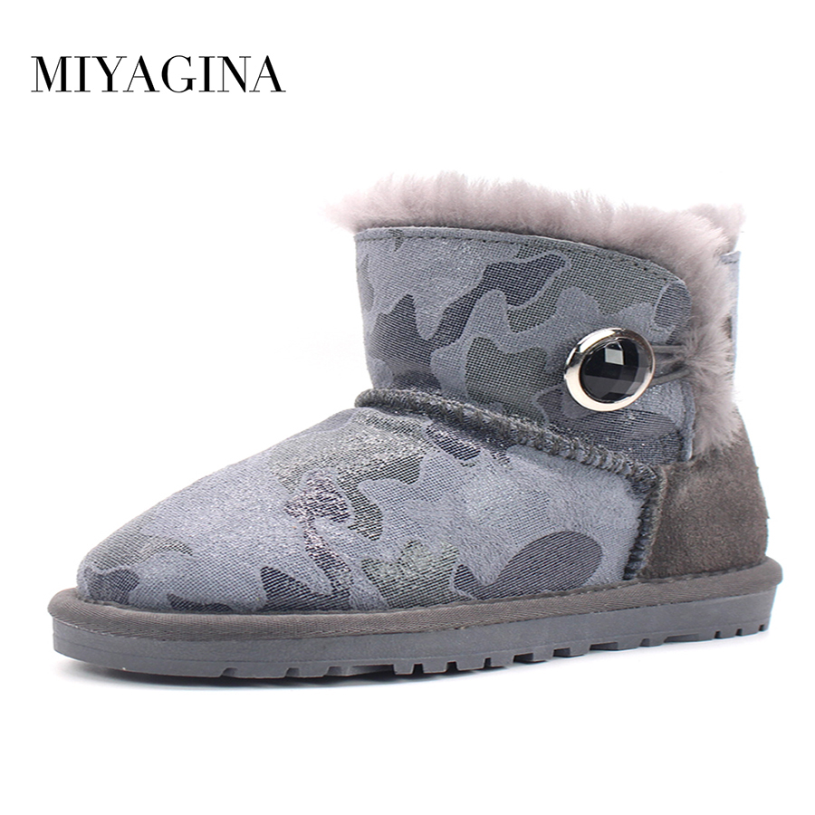 Top Quality 100% Genuine Cowhide Leather Snow Boots Natural Fur Botas Mujer Winter Real Wool Ankle Boots For Women aiweiyi womens high quality genuine leather real fur 100