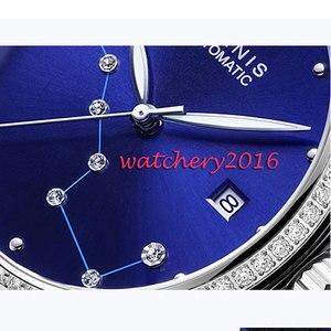 Image 4 - Люксовый бренд 39 мм Parnis с синим циферблатом сапфировое стекло Дамский кожаный ремешок для даты женские Автоматические Мужские часы
