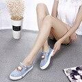 2017 Chegada Nova Primavera Mulheres Jeans Sapatos Elástico Patchwork Franja Sapatos Baixos Luz Sólida Doce Conforto Zapatos Mujer XJ300