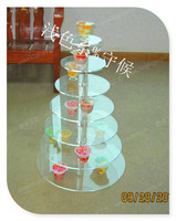 Hot! Clear 7 Tier Ronde Acryl Wedding Party Cupcake Display Stand Acryl Cake Stand bruiloft decoratie