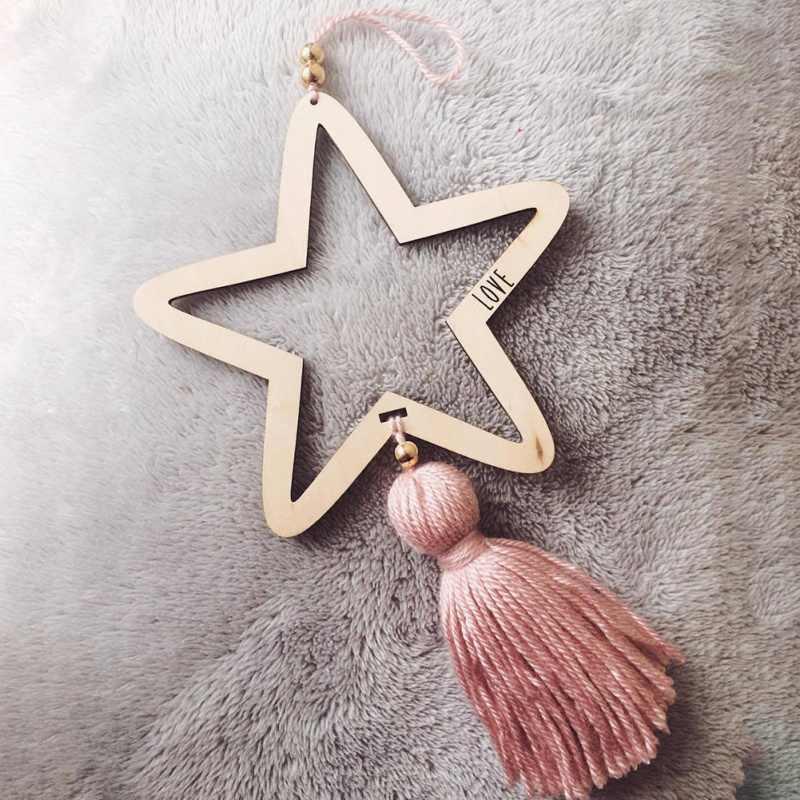 Dekoracja pokoju dziecięcego styl skandynawski Tassel wisiorek Kid prezenty rzemiosło ścienne wiszące gwiazdy Decor koraliki wzór gwiazda fotografia rekwizyty