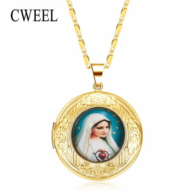 CWEEL שרשראות & תליוני ישו גיאומטרי Boho ארוך שרשרת תמונה תליוני נשים שרשרת חתונה גדול בוהמי הצהרת שרשרת