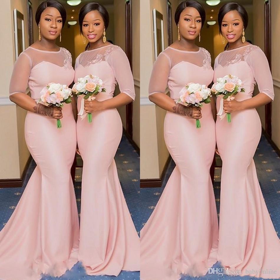 Robe Demoiselle D'honneur Illusion Mermaid African Pink Bridesmaid Dresses Half Sleeve Wedding Guest Dress Prom Party Gowns