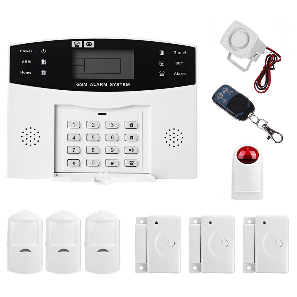 MOOL LCD Wireless GSM Autodial SMS Home House Office Security Burglar Intruder Alarm Set White ya 500 gsm 24 lcd home house office security burglar alarm system