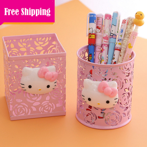 Cute Kitty Graceful hollow Pen Case.Makeup Cosmetic Storage Box Case Holder Brush debris classification storage boxes.Organizer(China)