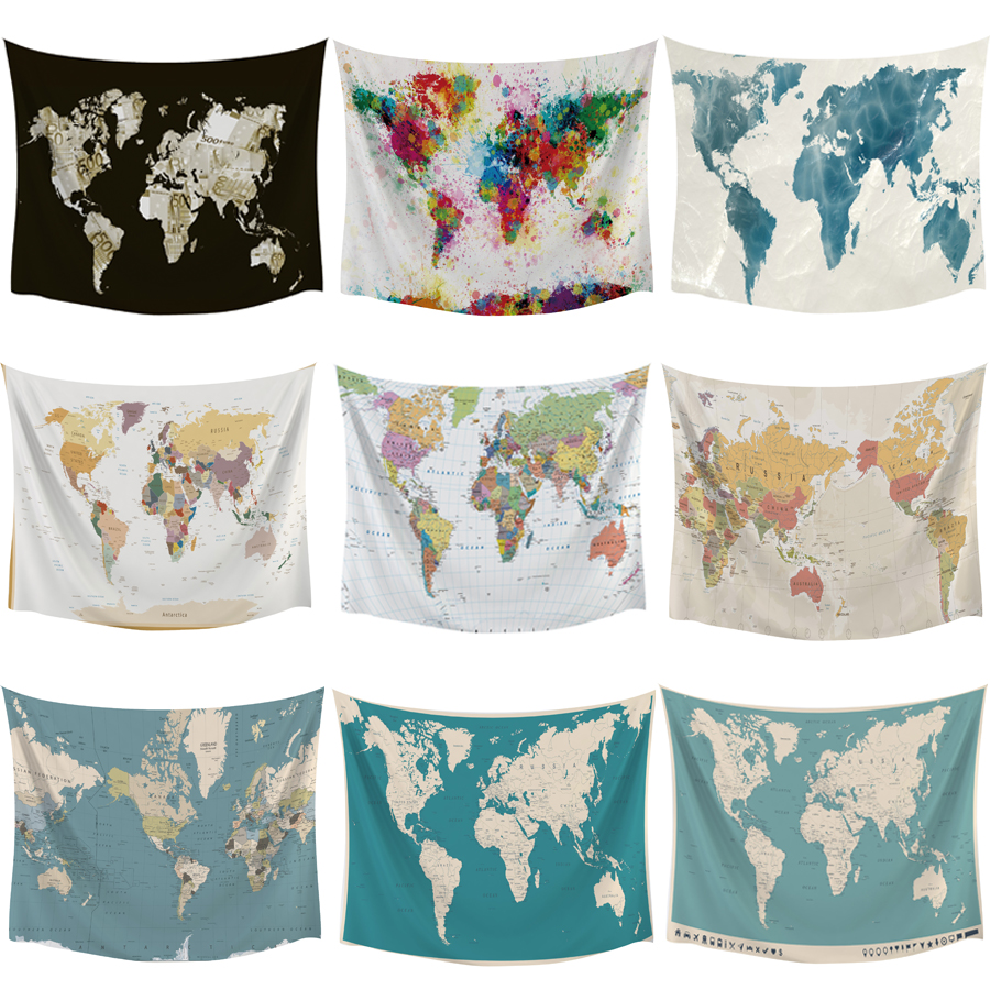 HD World Map Tapestry High-Definition Map Fabric Wall Hanging Decor Watercolor Map Polyester Table Cover Yoga Drop Shipping