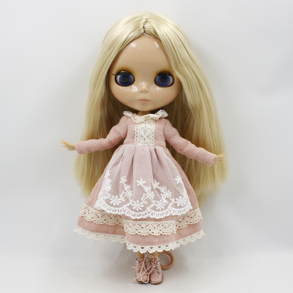 Blyth Nude doll 1/6 bjd Joint Body Blonde Straight Hair Big eyes DIY makeup doll toys for girls blyth nude doll joint body with long wavy white hair 4 colors big eyes 1 6 bjd blyth dolls suitable diy makeup toys