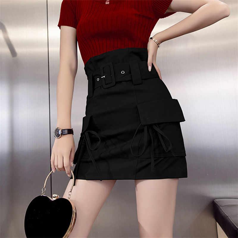 2019 été jupe courte nouveau outillage mode rue tendance un mot jupe femme conception taille haute jupe sac casual hanche jupe WIN896