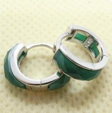 Jansun 100% Real Sólida plata de Ley 925 Pendientes de Plata Con Ágata Verde Del Oído Hebilla Pendientes de La Joyería Para Las Mujeres YH1023