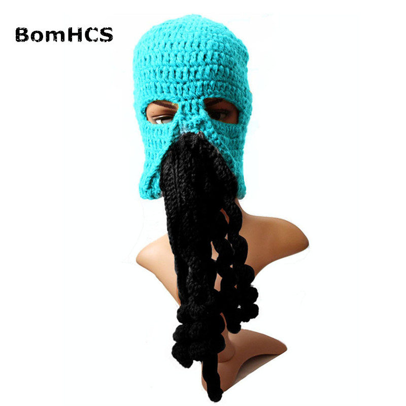 3379ae08c6d BomHCS Novelty Cool Winter Crocheted Men s Beard Hat Wortex People ...
