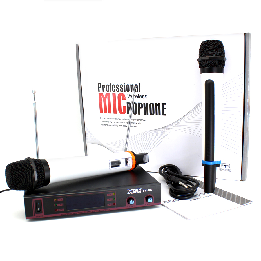 Professional UHF Wireless Microphone System Dual Handheld Mic With Receiver For Karaoke KTV Conference Singing Microfone Sem Fio free shipping professional uhf wireless microphone system mic mike for karaoke ktv stage dj dynamic microfono sem fio microfone