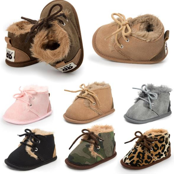 """New 2017 In winter infant Keep warm boots with fur PU Leather First walkers Crib Brand """"Romirus""""baby Prewalker lace-up Shoes"""