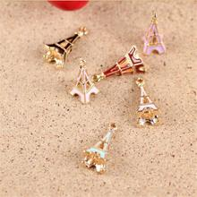 Hand Making 20pcs/lot  Alloy Gold Plated Jewelry Eiffel Tower Pendants Charms For Bracelet Necklace DIY Jewelry Making SC-12