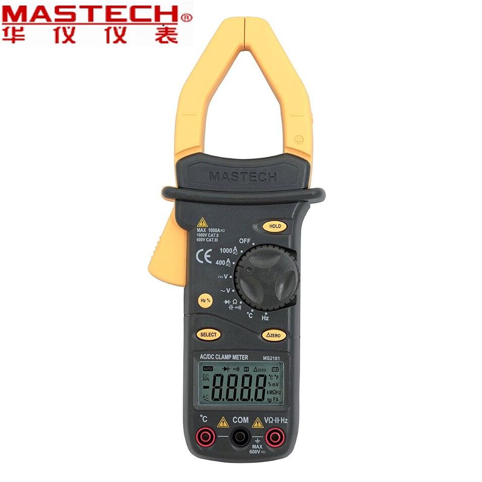 2017 nouveau MASTECH MS2101 AC/DC 1000A pince numérique mètre DMM Hz/C pince mètre mesure capacité fréquence température