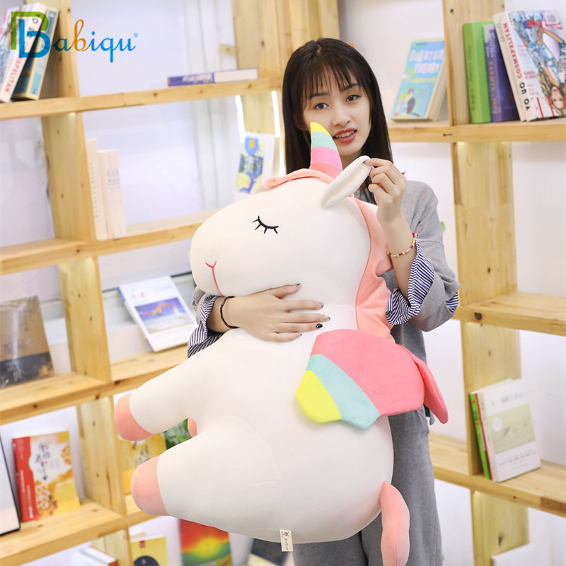 Babiqu 1pc 55cm Big Fat Unicorn Plush Toy Stuffed Animal Unicorn Toy for Children Colorful Lovely Doll for Kids Christmas Gifts christmas santa claus high low plus size t shirt