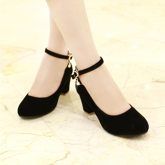 40b871194449 women red black small big plus size 32 42 43 heels bridal wedding shoes  ladies medium thick heel female heels pumps single shoes