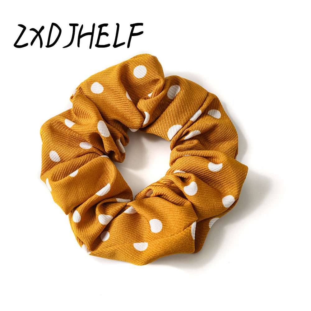 ZXDJHELF Polka Dot Design Scrunchie Women's Elastic Hairband Vintage Sweet Girls Hair Accessories Hair Ties Ponytail Holder F093