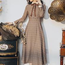 Высокое качество,, Ретро стиль, Осень-зима, Новое поступление, воротник Питер Пэн, бант, в клетку, с принтом, женское длинное платье