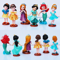 5set Lot 1set 6pcs Princess Snow White Cinderella Rapunzel Jasmine Mermaid Thinkbell Bella Ariel Figure