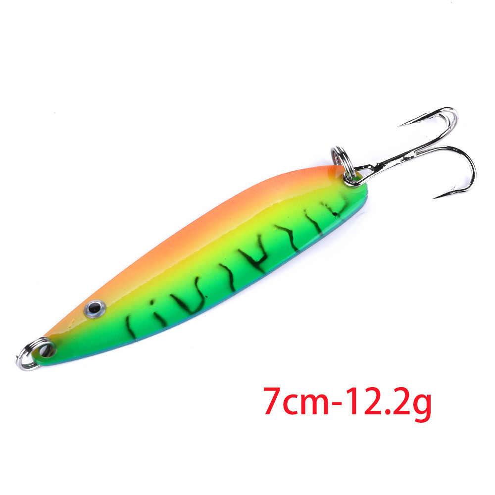 Hengjia 1 Pcs Logam Spinner Sendok Memancing Umpan Keras Umpan Warna-warni Payet Kebisingan Paillette Treble Hook Tackle 3.2G- 12G
